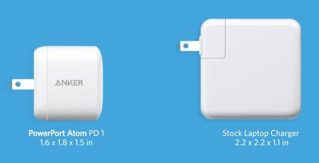 AnkerPowerPort Atom tegenover Apples adapter.