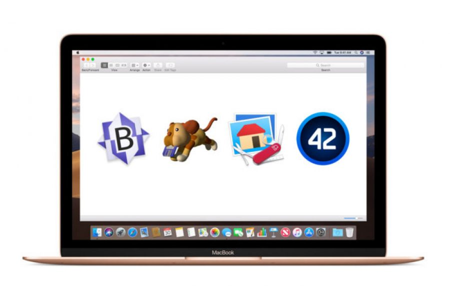 A MacBook displaying icons for BBEdit, Fetch, GraphicConverter, and PCalc.