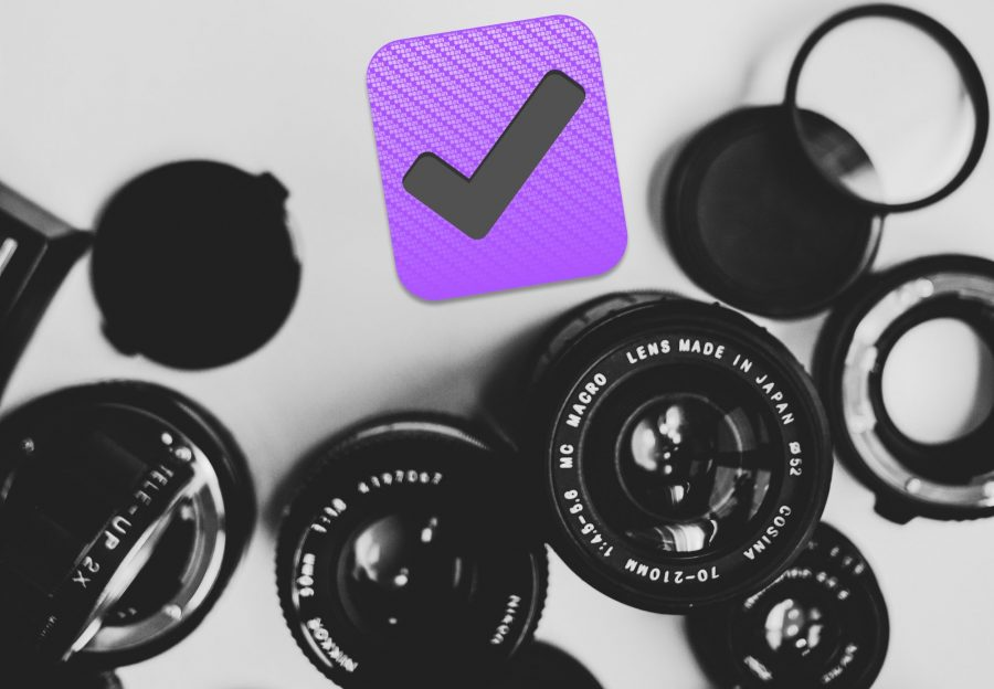 The OmniFocus logo surrounded by camera lenses.