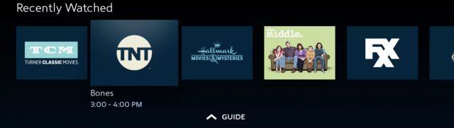 De lijst met recente kanalen van de app Spectrum TV