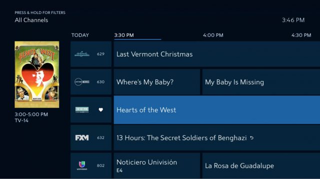 The Spectrum TV app's channel guide