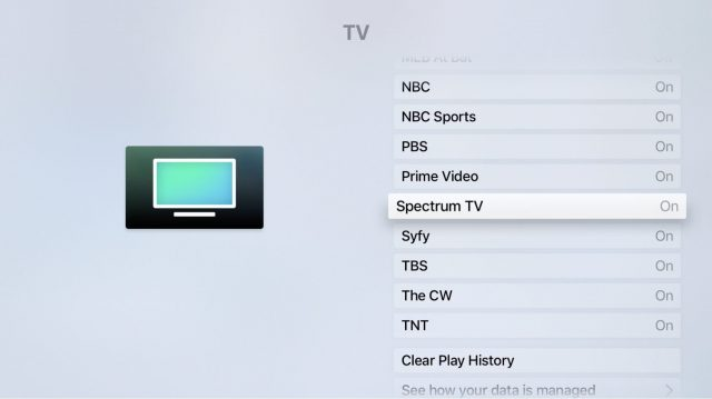 Screen showing the Settings app with TV selected.
