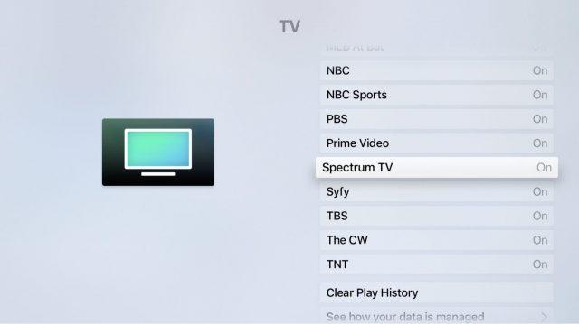 Scherm met de app Settings, met TV geselecteerd.