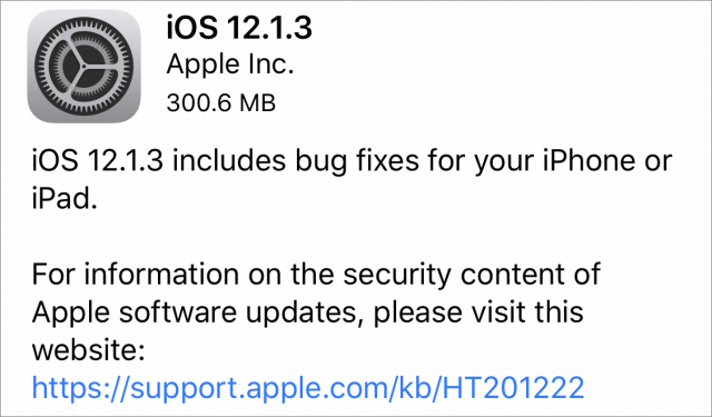 iOS 12.1.3 release notes.