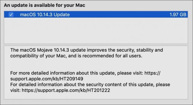 macOS 10.14.3 release notes.