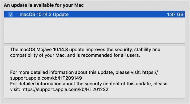 Toelichting bij macOS 10.14.3.