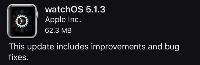 watchOS 5.1.3 release notes.