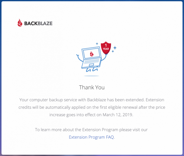 Backblaze extension program