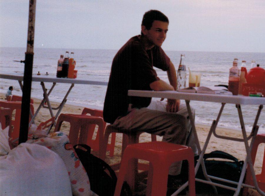 Gideon Greenspan on a beach in 1999