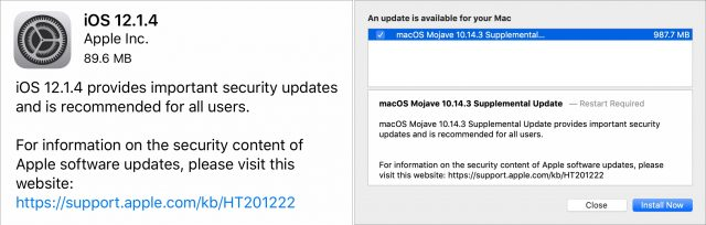 Release notes for iOS 12.1.4 and Mojave 10.14.3 Supplemental