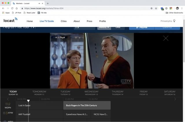 Locast in Google Chrome on macOS