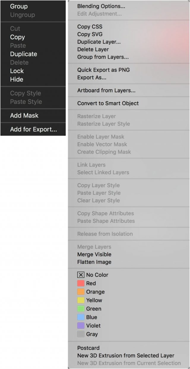 Contextual menus in Pixelmator Pro vs. Photoshop