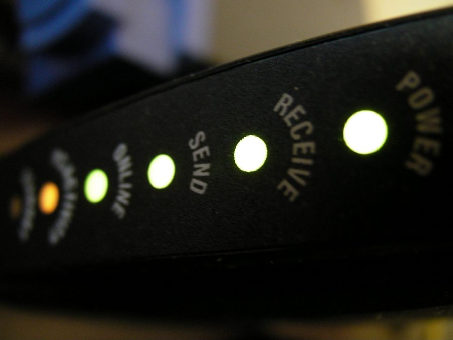 Lights on a router.