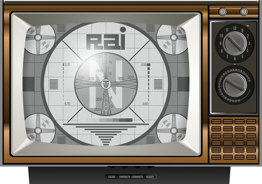 An illustration of a vintage TV displaying a test pattern.