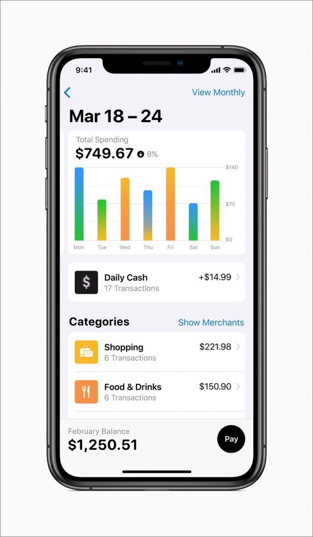 Categorized Apple Card spending in the Wallet app