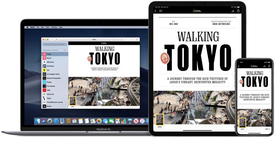 Apple News+ on a MacBook Air, iPad Pro, and iPhone.