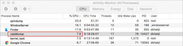 cbbWorker's CPU activity