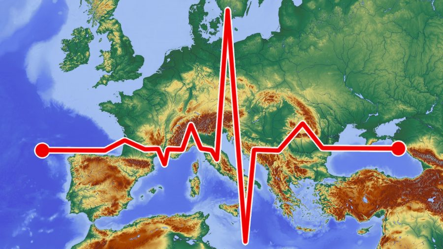 Map of Europe with an ECG superimposed