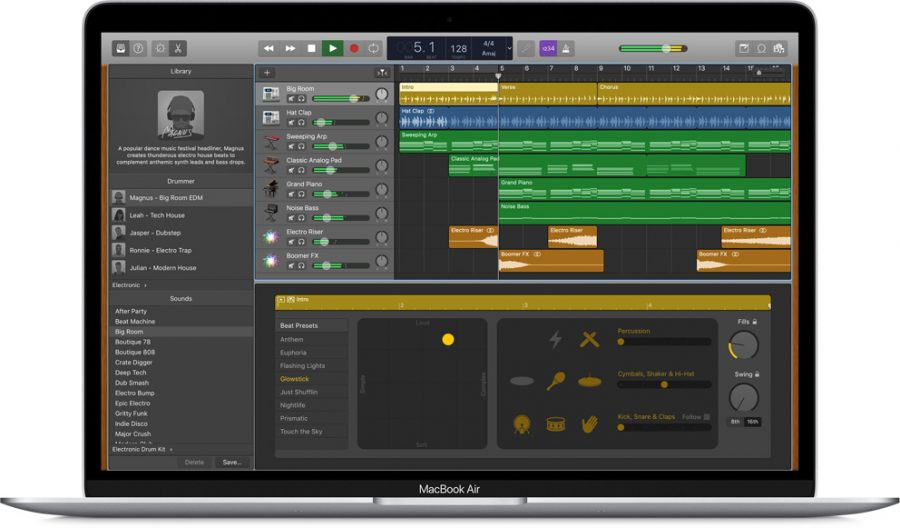 GarageBand running on a MacBook Air