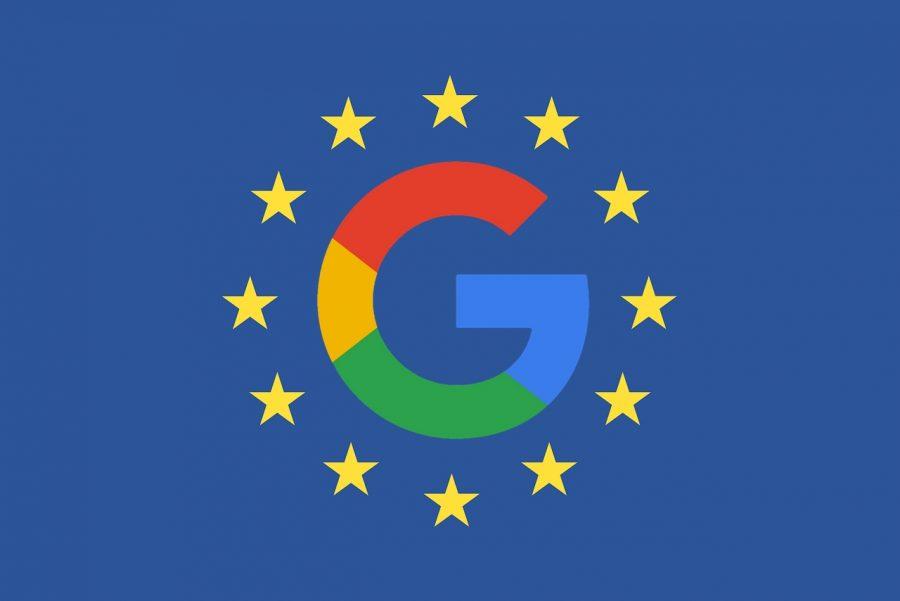 The Google logo on the EU flag