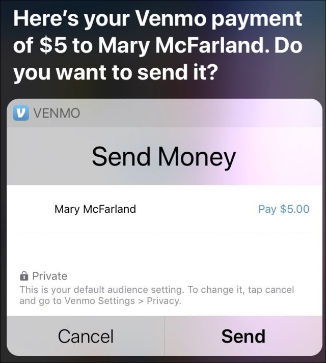 Sending money with Siri