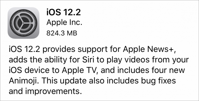 iOS 12.2 release notes