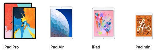 iPad model lineup