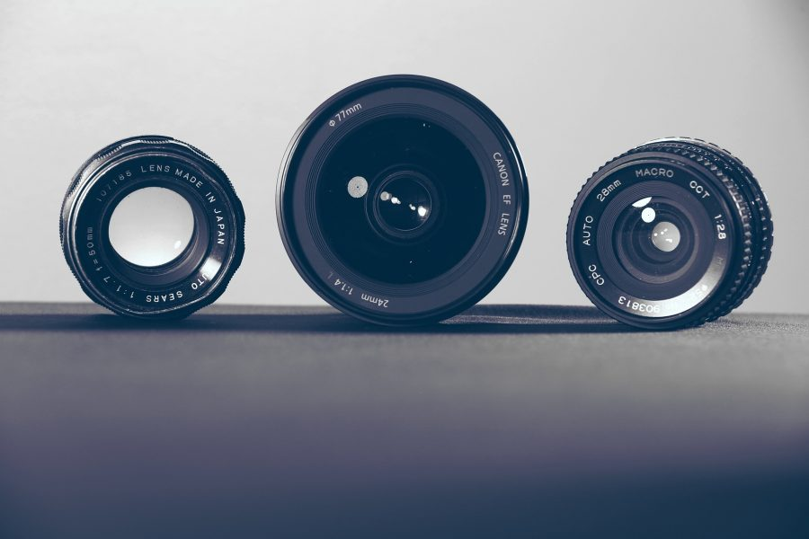 Three camera lenses
