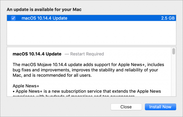 macOS 10.14.4 release notes