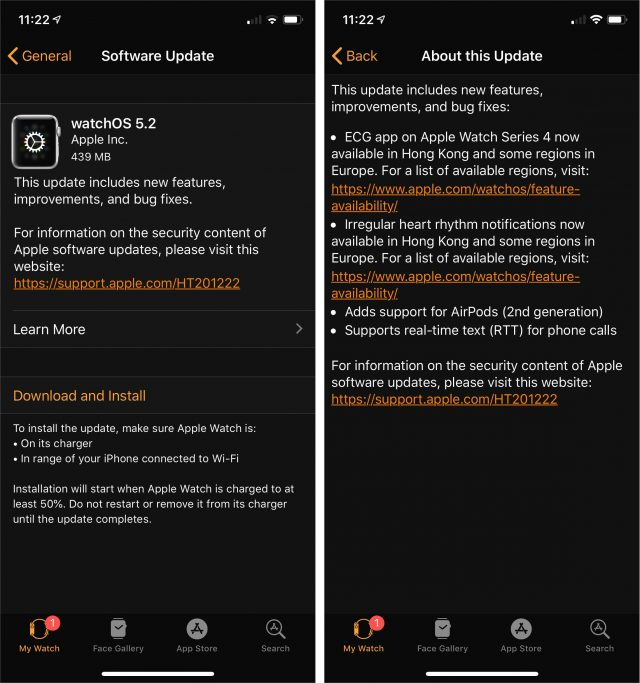 Release notes for watchOS 5.2