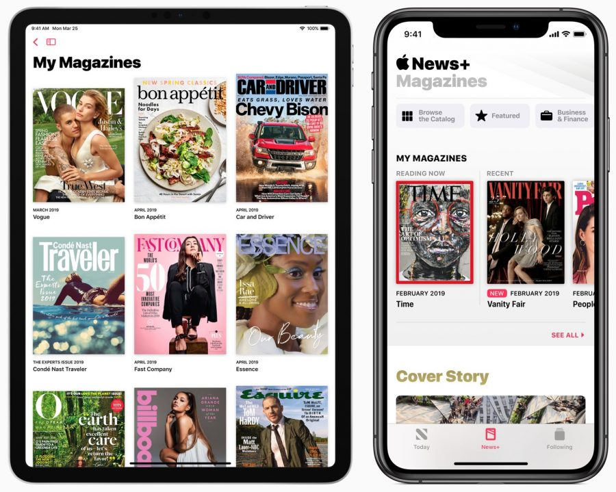 Apple News+ on an iPad and iPhone