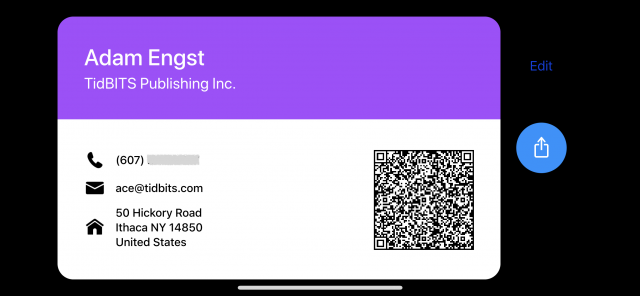 Cardhop's business card view