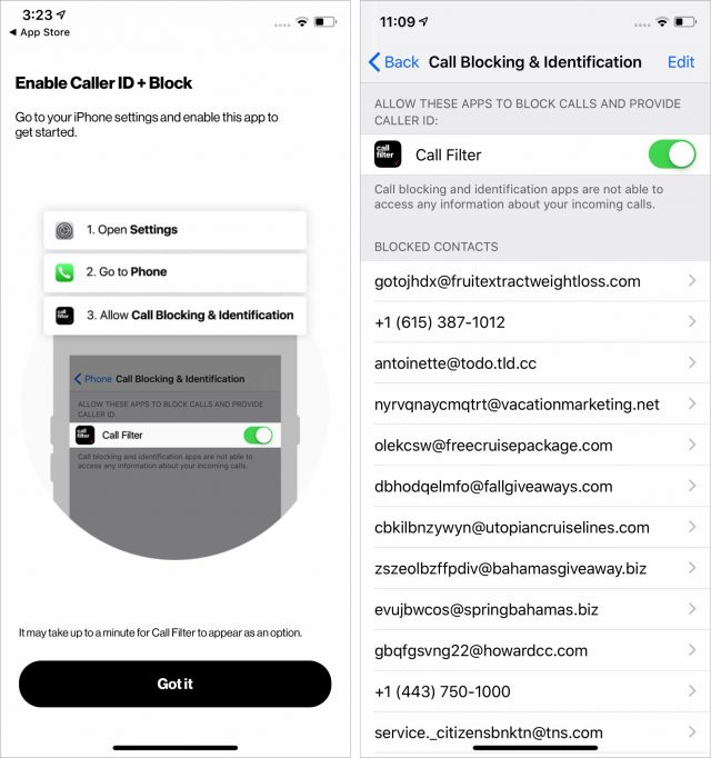 Enabling Verizon Call Block in iOS settings.