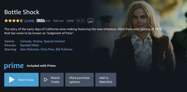 Screenshot of Amazon Prime Video rental for a movie included free in an Amazon Prime subscription.