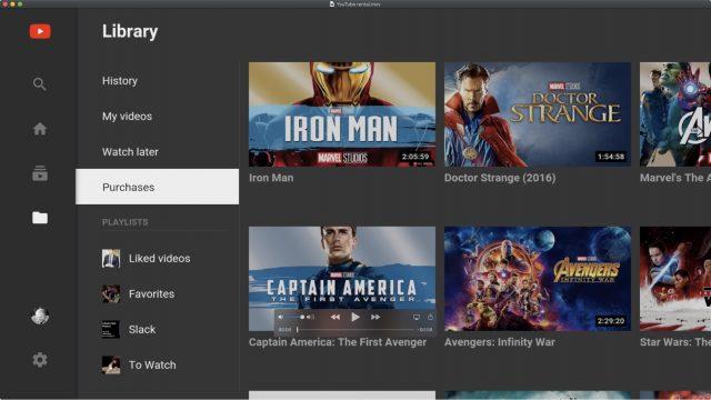Schermafbeelding van Aankopen in YouTube, waar je gehuurde films kan bekijken.