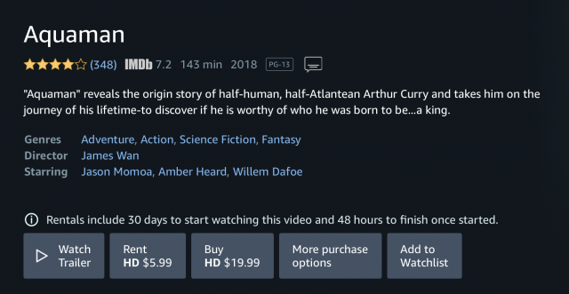 Screenshot of Amazon Prime Video rental and purchase screen for Aquaman movie.