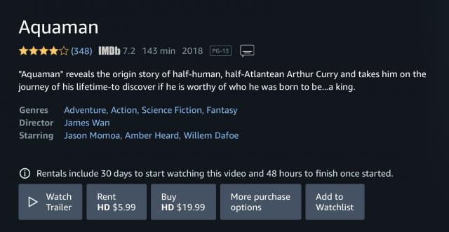Schermafbeelding van het verhuur- en koopscherm van Amazon Prime Video voor de film Aquaman.