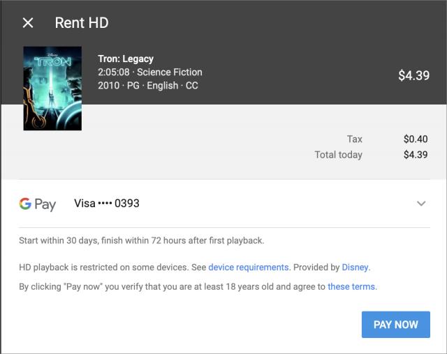 Schermafbeelding van het verhuur-kassascherm van YouTube voor Tron Legacy.