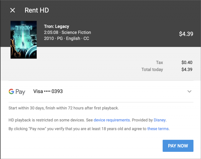 Screenshot of YouTube rental checkout screen for Tron Legacy.