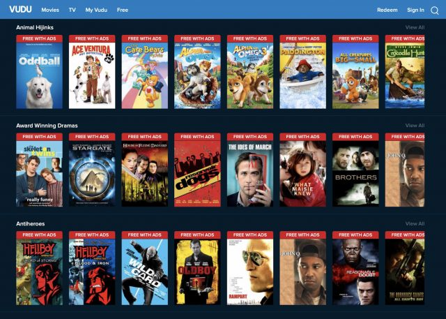 Screenshot of a portion of Vudu's free movie listings.