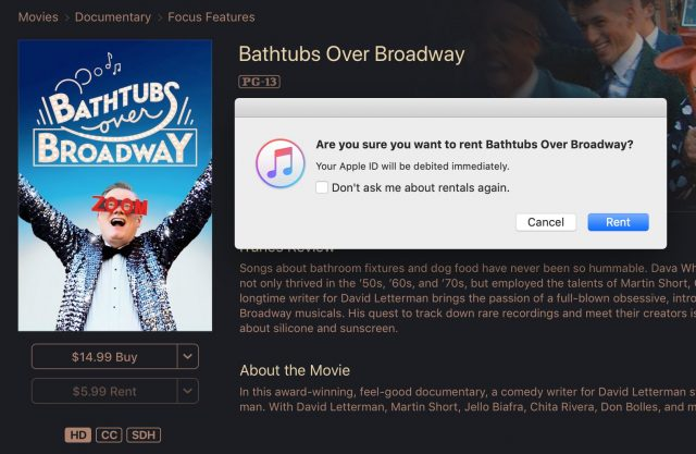 Screenshot of the rental confirmation dialog box in iTunes for macOS after click the Rent button.