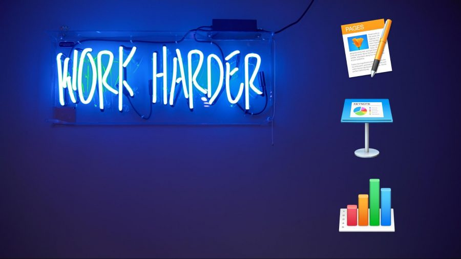 A neon sign that says Work Harder with the iWork icons