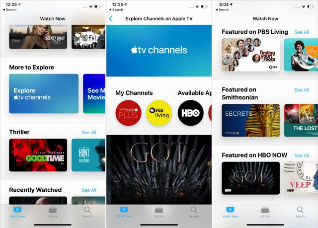 The Explore Apple TV Channels screen