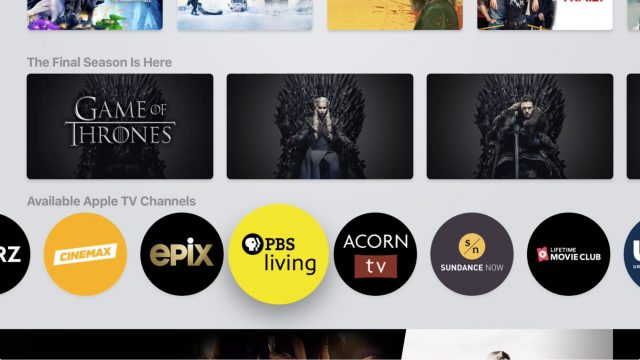 Apple TV channels on tvOS with PBS Living highlighted
