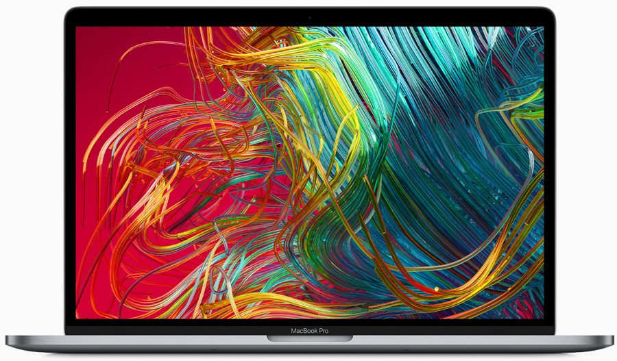 A MacBook Pro with colorful stuff on the screen.