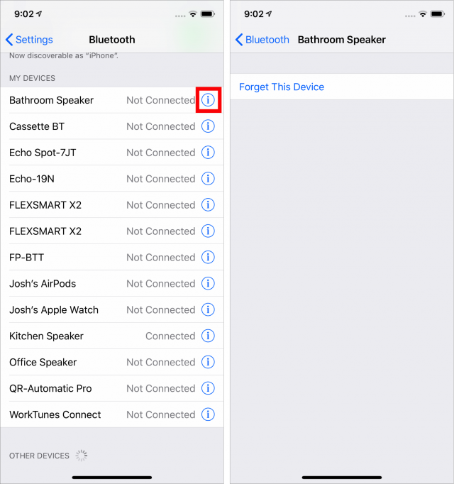Forgetting a Bluetooth device in iOS settings.