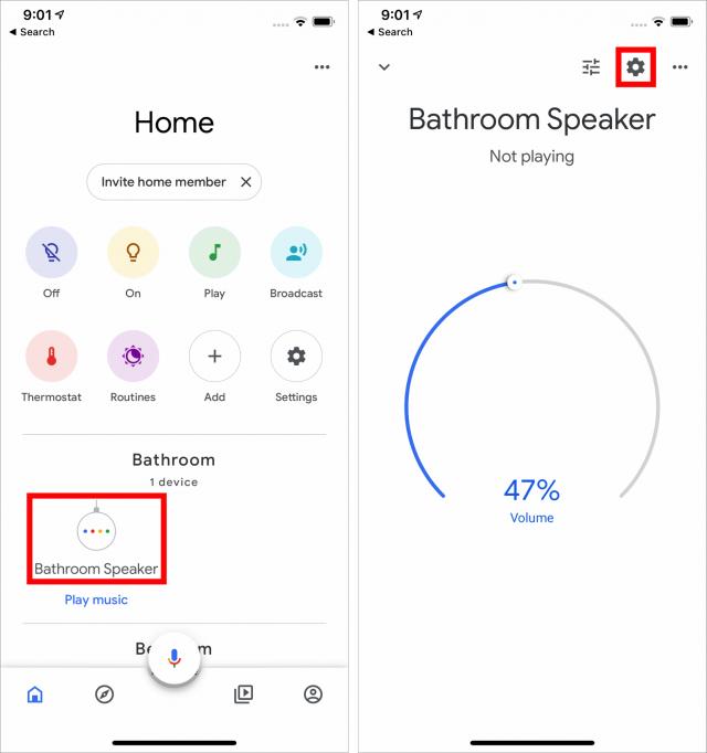 Finding Google Home speaker settings