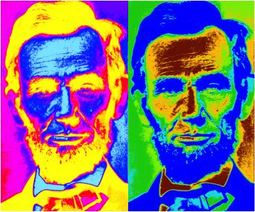Weird color photo of Abraham Lincoln