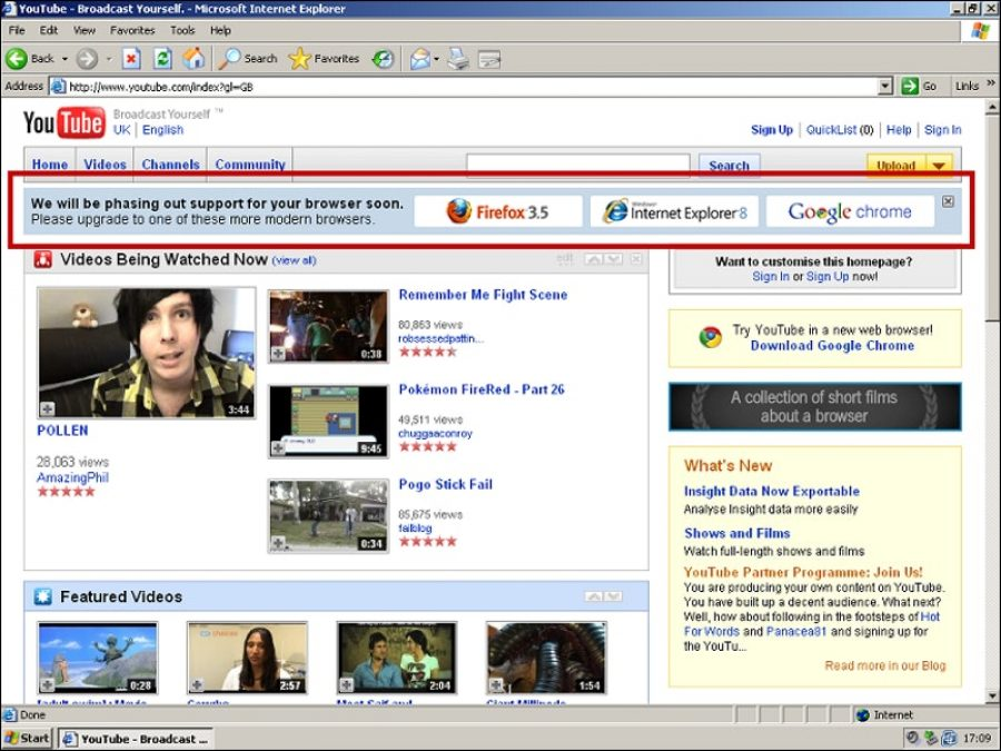 The YouTube IE warning banner from 2009.