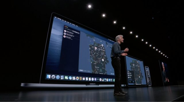 Craig Federighi in front of a screen showing macOS Find My app.